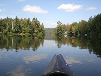 Calais pond viewed from bow of a canoe