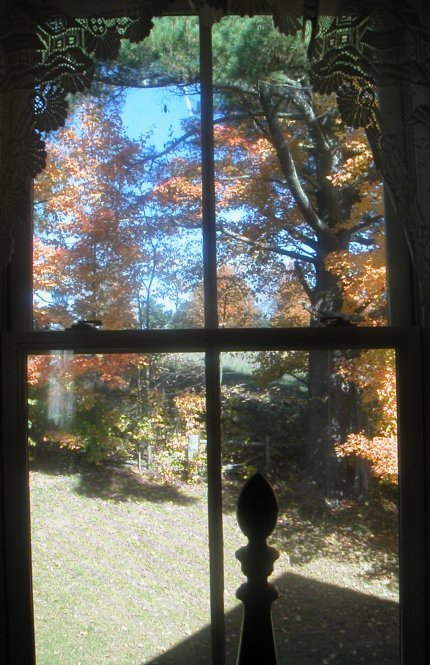 window in yellow roomview of orange red maples and hill behind